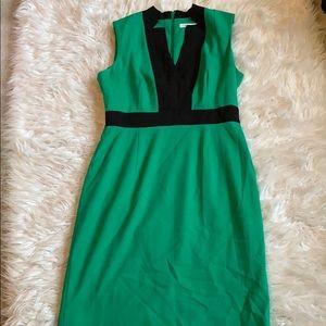 Calvin Klein color block green & black  dress sz 8